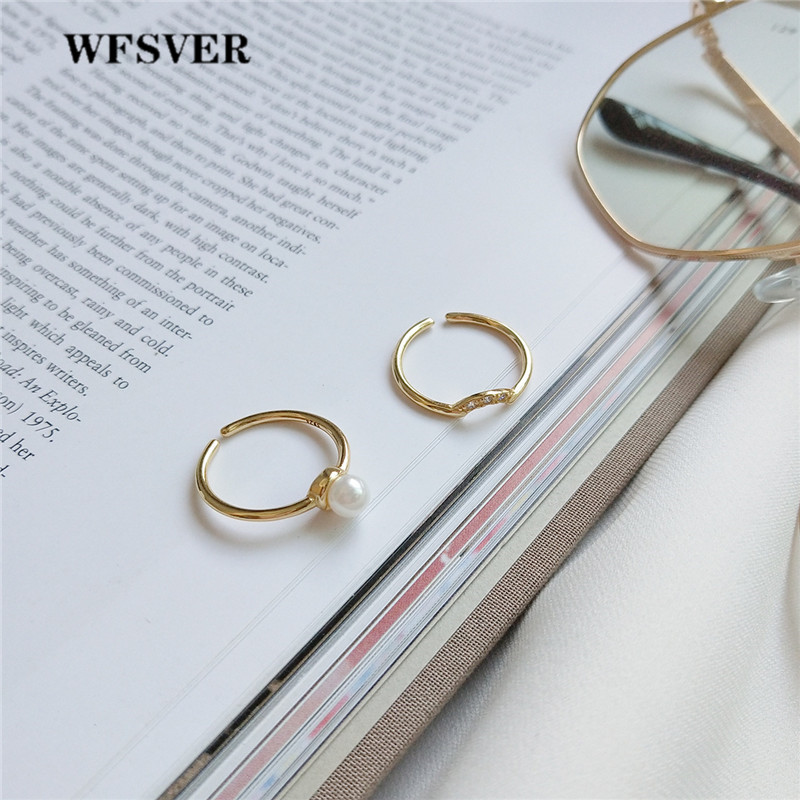 WFSVER 925 sterling silver ring for women fashion gold color with pearl curved rings opening adjustable fine jewelry gift in Rings from Jewelry Accessories