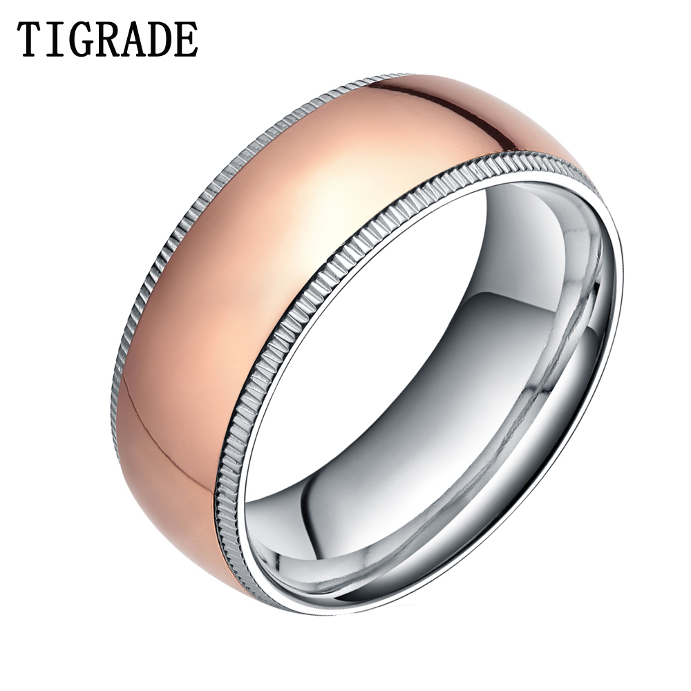 8mm Titanium Ring Rose Gold Wedding Band Men Engagement