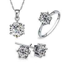 Hot 2016 New White brincos anéis e colares conjuntos de jóias de noiva prata rodada de noivado casamento para a mulher acessórios Bijou