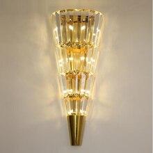 Altın modern duvar lambası kristal ışık lüks İskandinav oturma odası dekorasyon otel LED ışıkları