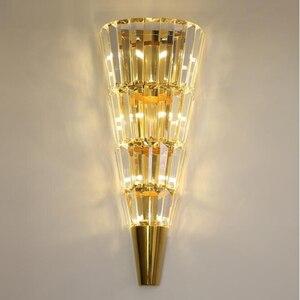 Image 1 - זהב מודרני קיר מנורת קריסטל אור יוקרה נורדי סלון קישוט מלון LED אורות