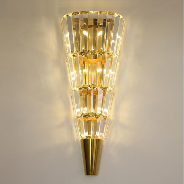 ゴールデン現代の壁ランプクリスタルライト高級北欧リビングルームの装飾ホテル led ライト