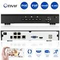 1080 P H.264 P2P HDMI 4CH POE NVR Gravador De Vídeo POE NVR APLICATIVO de Telefone 4CH ONVIF NVR para IP Câmera de Segurança de Saída VGA vigilância