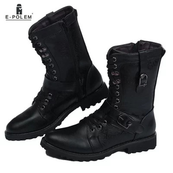 Winter Black Men's Metal Shoes Boots Motorcycle shoes Lace-up High Quality Fashion Leather Mid-Calf Rubber Sole