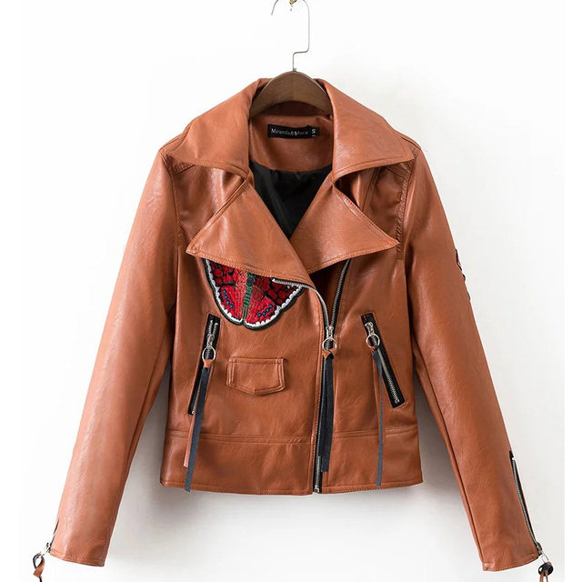 Цветок бабочка вышивка PU кожаная куртка женщины 2016 моды печати тонкий случайный локомотив пальто куртки FS0334