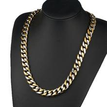 Granny Chic HIP Hop 16-40 Inch IP Gold Filled Heavy Stainless Steel Curb Cuban Link Rombo Chain Necklaces for Men Jewelry