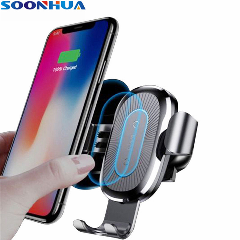 SOONHUA Car Qi Wireless Charger Mount For iPhone XS Max X XR 8 Fast Charging Adapter Car Phone Holder For Samsung Note 9 S9 S8