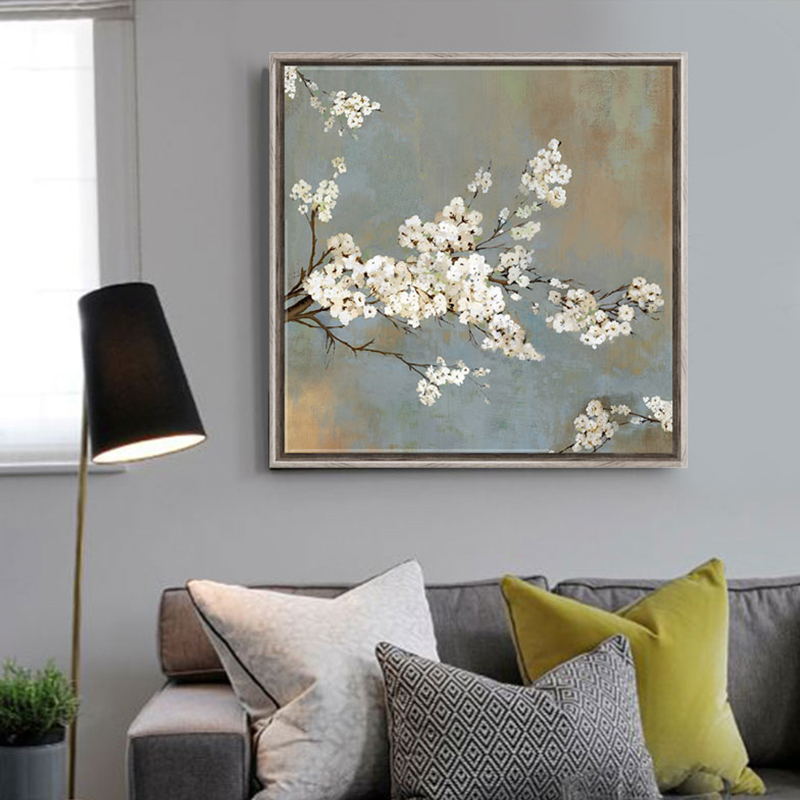 White cherry tree flowers painting canvas prints home decor living room bedroom office cheap modern paintings schilderij