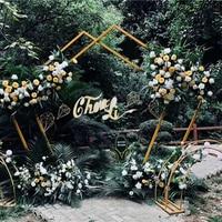 New DIY Wedding Prop Iron Pentagon Geometry Shelf Artificial Flower Wall Stand Door Wedding Background Decor Arch Iron Stand