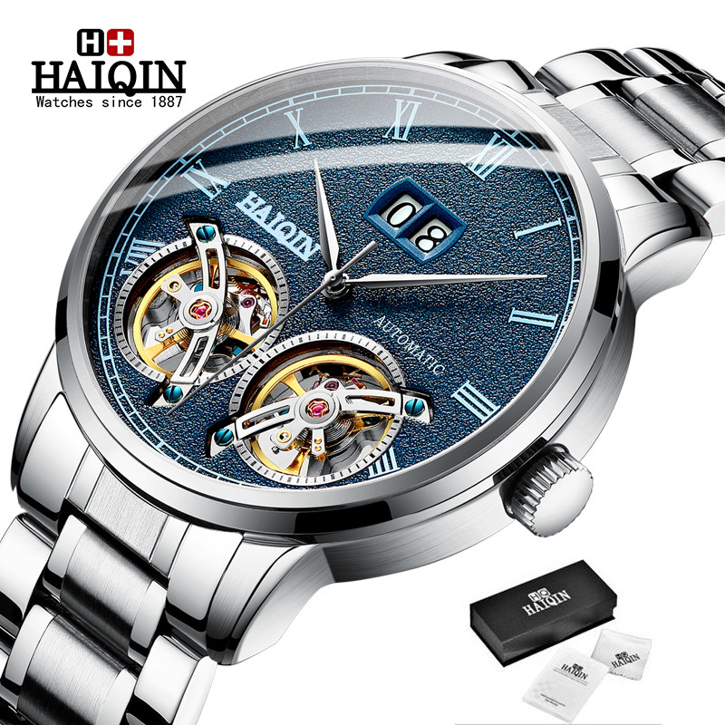 Double tourbillon Automatic Men's Watches HAIQIN Top Brand Luxury Business Full Steel Waterproof Sport Machinery Watch Men+box