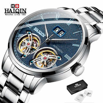 Double tourbillon Automatic Men's Watches HAIQIN Top Brand Luxury Business Full Steel Waterproof Sport Machinery Watch Men+box - DISCOUNT ITEM  66% OFF All Category