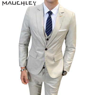 Tuxedos For Men Prom Suits Slim Fit 3 Pieces Mens Suits With Pants Wedding Suits Set Beige Blue Plus Size 5XL 2018 Mauchley