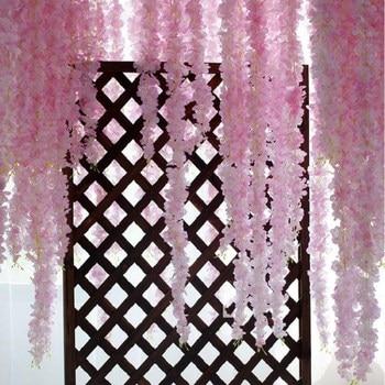 60cm Artificial Wisteria Vine Hydrangea Flower Rattan for Home Hanging Ornaments Wedding Centerpieces Decoration 50pcs/lot