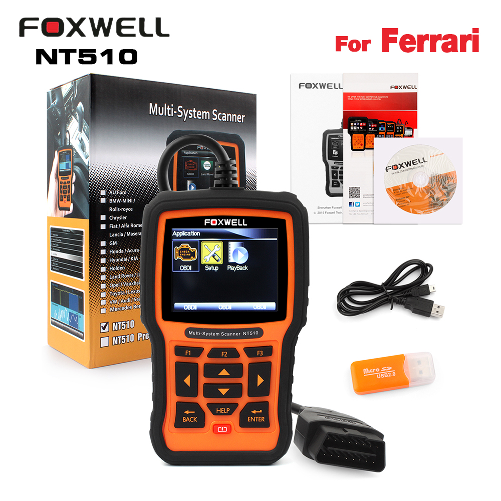 Цена за Foxwell NT510 для Ferrari OBD2 автомобиля сканера ABS подушки Трансмиссия Шестерни коробка инструмент диагностики для FERRARI 458 499 вызов Enzo