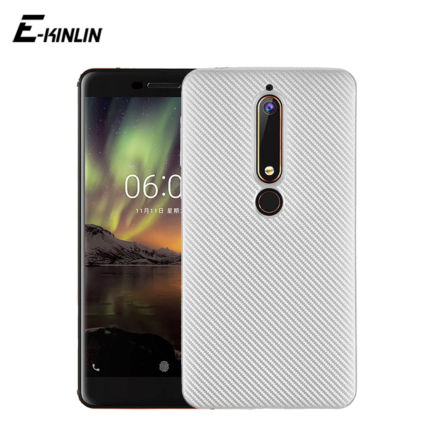 Fashion Ultra Thin Carbon Fiber Texture Case For Nokia X6 6 2018 6.1 5.1 3.1 2.1 8 7 Plus 5 3 2 1 Soft Silicone Phone Back Cover