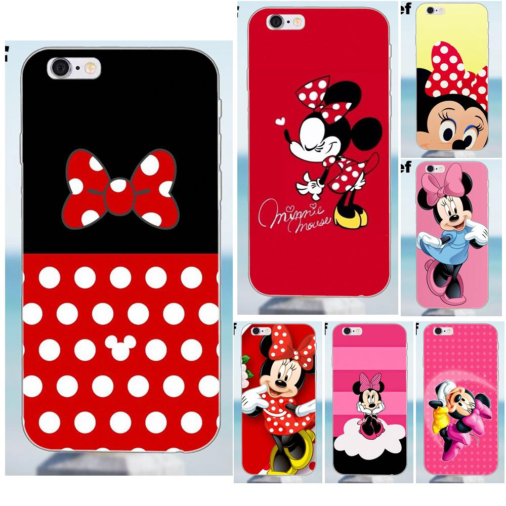 For iPhone X 4 4S 5 5S 5C SE 6 6S 7 8 Plus Galaxy J1 J3 J5 J7 A3 A5 2016 2017 TPU Phone Cover Case Coque Minnie Mouse Red Hearts image