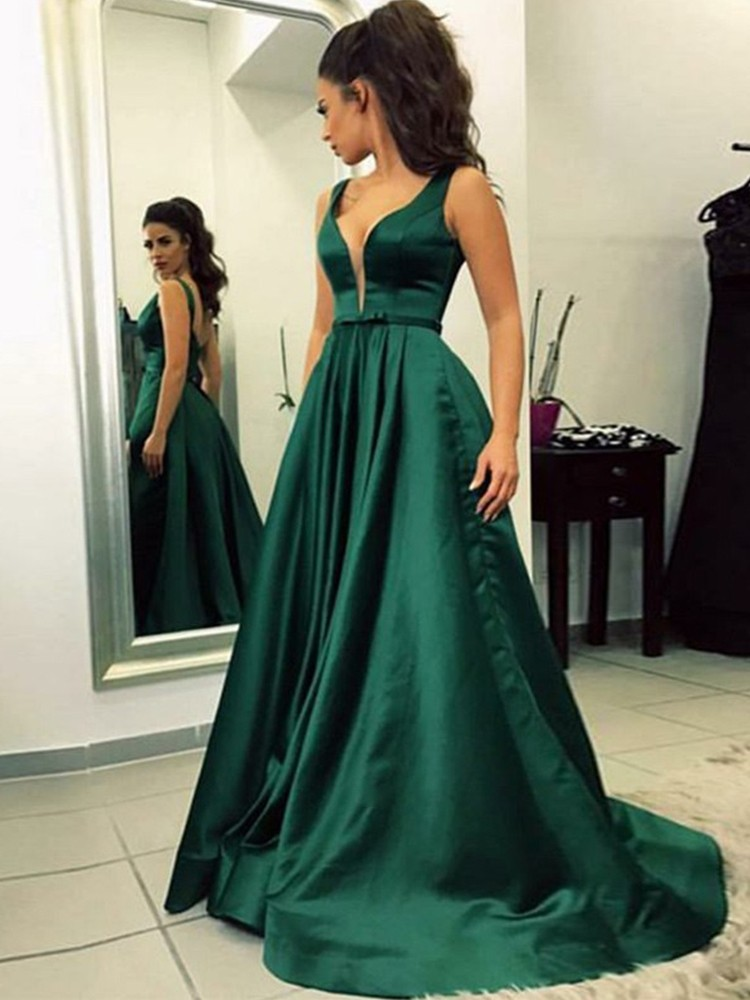 Esmeralda Verde Musulmán Vestidos De Noche 2019 Línea A Cuello En V Satén Dubai Saudí árabe Espalda Descubierta Vestido De Noche Simple Vestido De