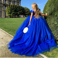 2018 Royal Blue Princess Flower Girl Dresses For Wedding Ball Gown Evening Dress First Communion Dresses