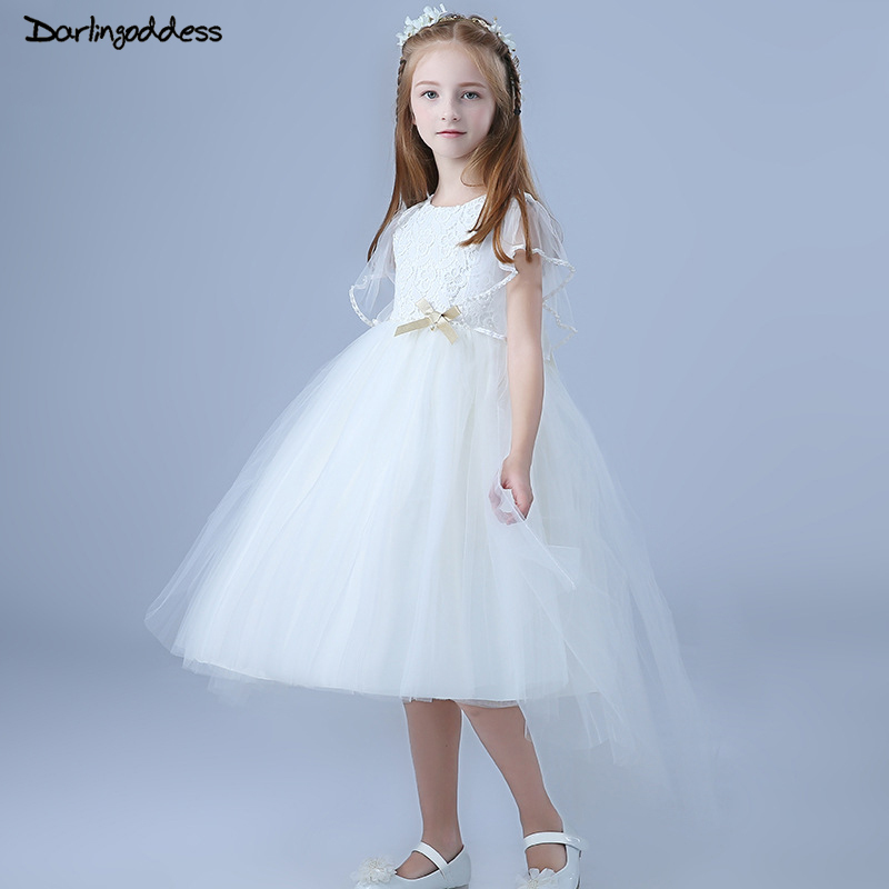 High Low Lace   Flower     Girl     Dresses   with Pearls Bow White First Communion   Dresses   for   Girls   Kids Evening Gowns Prom   Dress   2018
