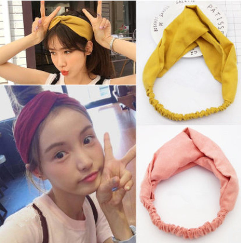 Women Hair Bands Headbands Cross Bandage Bandana   Headwear   Hair Accessories Headwrap Girls Solid Color
