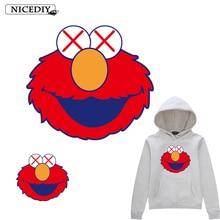 Nicediy Sesame Street Patches Iron On Clothing Heat Transfer Vinyl Sticker Cute ELMO Patch Fashable Applique Washable