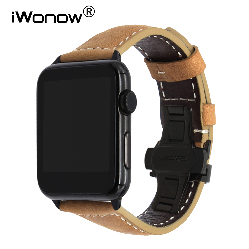 Italy Genuine Calf Leather Watchband + New Adapters for 38mm 42mm iWatch Apple Watch Series 1 2 3 Vintage Strap Wrist Band Brown