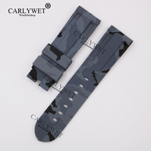 CARLYWET 24mm Wholesale Newest Camo Grey Waterproof Silicone Rubber Replacement Wrist Watch Band Strap Belt for Brand