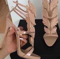 Concise Beige PU Leather Buckle Style Sandals Fancy Leaf Pattern Decorated Open Toe Stiletto Heel Dress