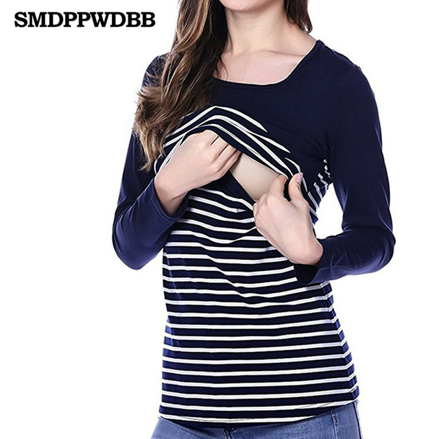 ccc5128c39c54 Cotton Striped Maternity Nursing T Shirt Autumn Breastfeeding Tees For Pregnant  Women Pregnancy Nurse Wear Tops Long Sleeve