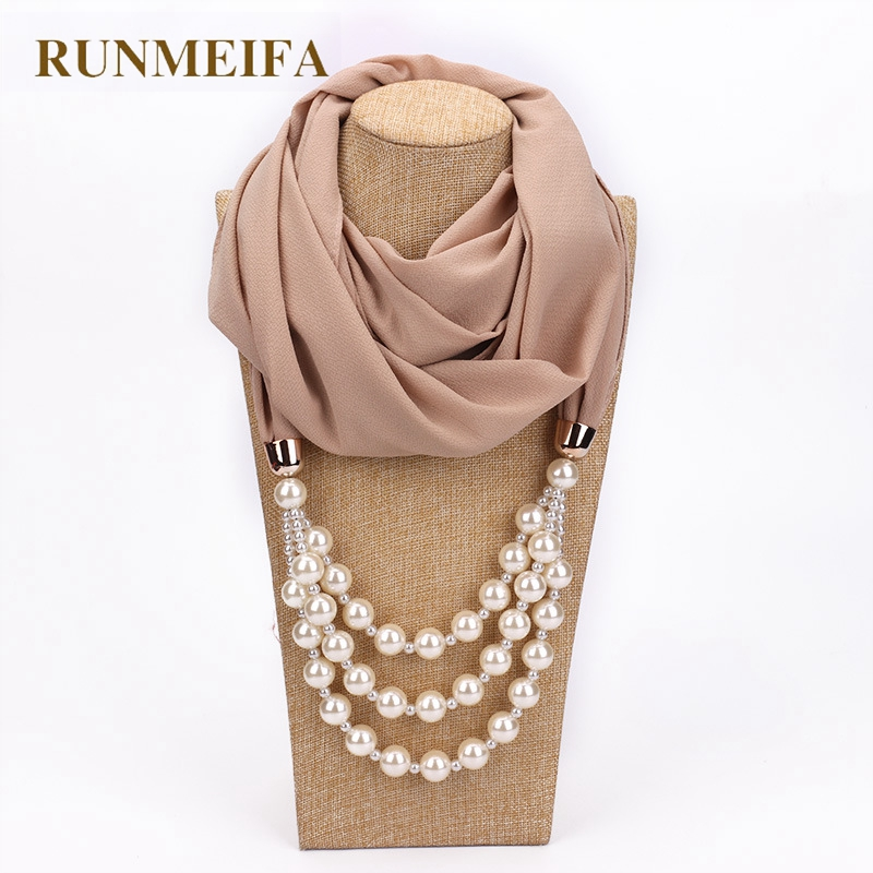 RUNMEIFA New Pendant   Scarf   Necklace Pearls Necklaces For Women Chiffon Hijab Pendant Jewelry   Wrap   Foulard Female Accessories