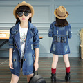 Big Girls Denim Trench Coats Double Breasted Letter Jackets For Girls Outerwear Brand 2017 Children Clothing 4-13 years