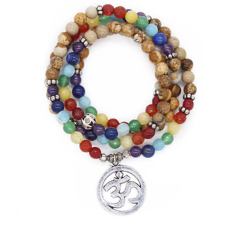 Poshfeel 7 Chakra Healing Balance Bracelet Yoga Prayer Stone 108 Bead Bracelet Multilayer Bangle Women Men MBR170311