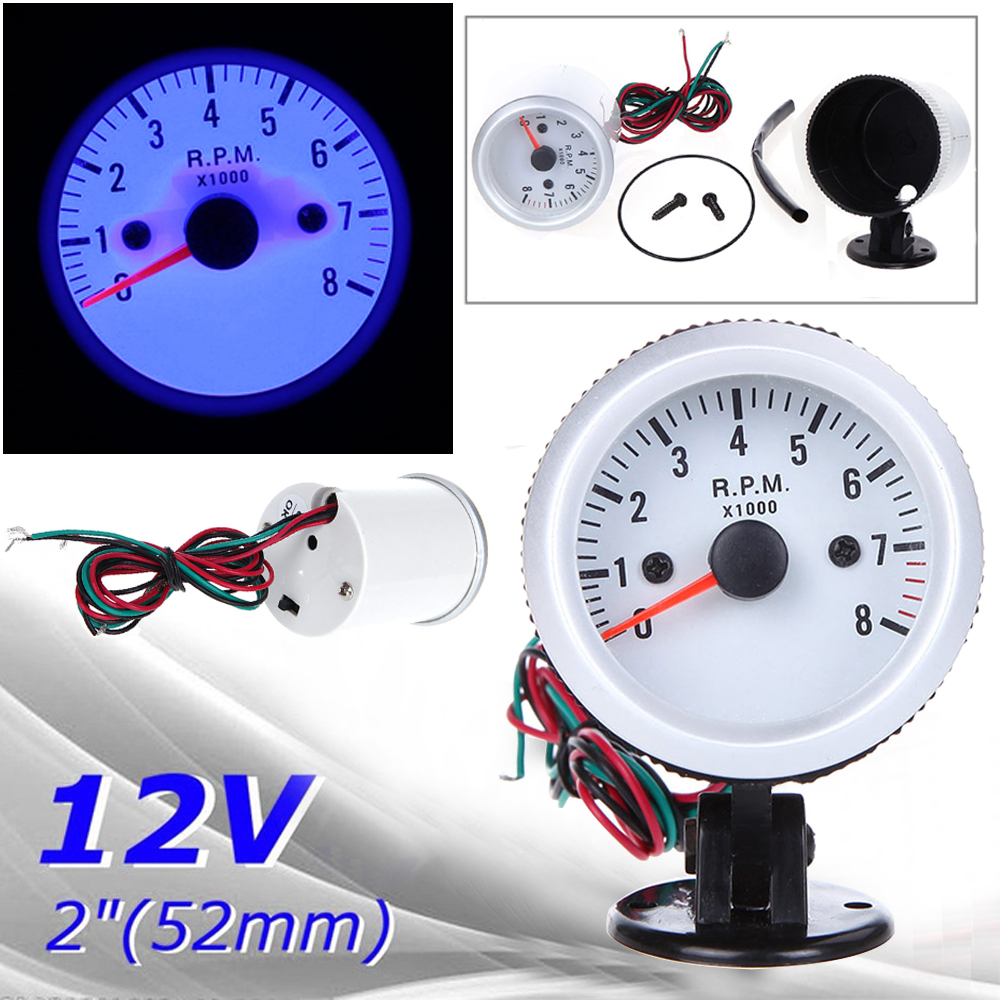 For 4*6*8 Cylinder Tachometer Car Motor Gauge Tacho Meter Gasoline 12V DC Blue-in Tachometers from Automobiles & Motorcycles