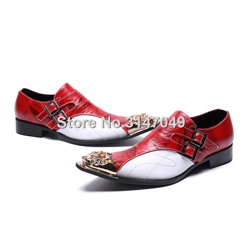As Social White Casamento Metal Sapatos Oxford Escritório Shown Sapato Masculino Os Shown Homens Vestido Formal as Do Dos Dedo Couro Pé De Para Genuíno Red Black New gvnqa515