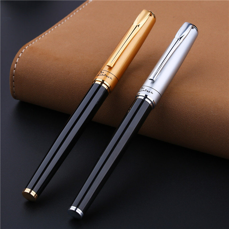 Silver or Gold Black Luxury 1.0mm Bent Nib Art Fountain Pen Pimio 906 Metal Ink/gift/calligraphy Pens with an Original Gift BoxSilver or Gold Black Luxury 1.0mm Bent Nib Art Fountain Pen Pimio 906 Metal Ink/gift/calligraphy Pens with an Original Gift Box