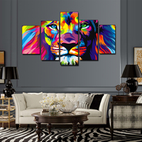 5 Pieces Colorful Lion King Oil Painting Animal Art Pictures Printed On Canvas For Home Wall Decor (No Frame)