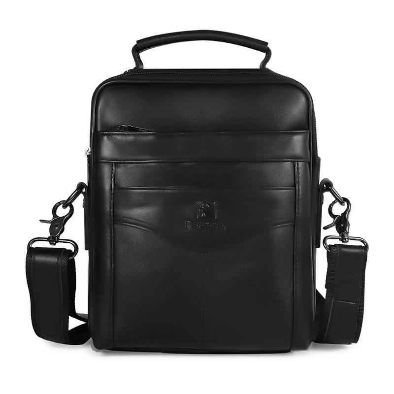 где купить Men Genuine Leather Shoulder Bag Work Business Multi Compartment Practical Messenger Corss Body Satchel Casual Daily Zip Bags по лучшей цене