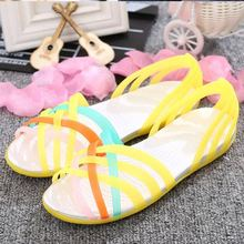 Women Sandals Jelly Shoes Peep Toe Summer Beach Shoes Zapatos De Mujer Ladies Slides Candy Rainbow Flats Sandalias Mujer 2019