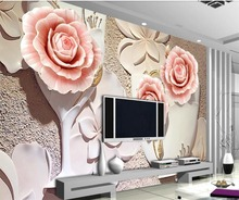 beibehang Custom wallpaper 3D Photo mural Living room bedroom Rose relief Mural TV backdrop Papel de parede 3d wallpaper murals все цены