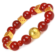 New 999 Pure 24K Yellow Gold 10mm 3D Bless Maxim Bead & 8mm Lucky Dice Woman's Fine Agate Bracelet