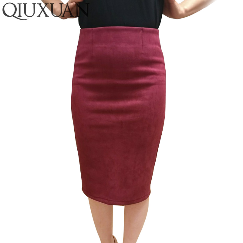 64e2607d65 Image Elegant Women Skirts 2017 Spring Fashion Faux Suede Female High Waist  Thicken Stretchy Pencil Skirts
