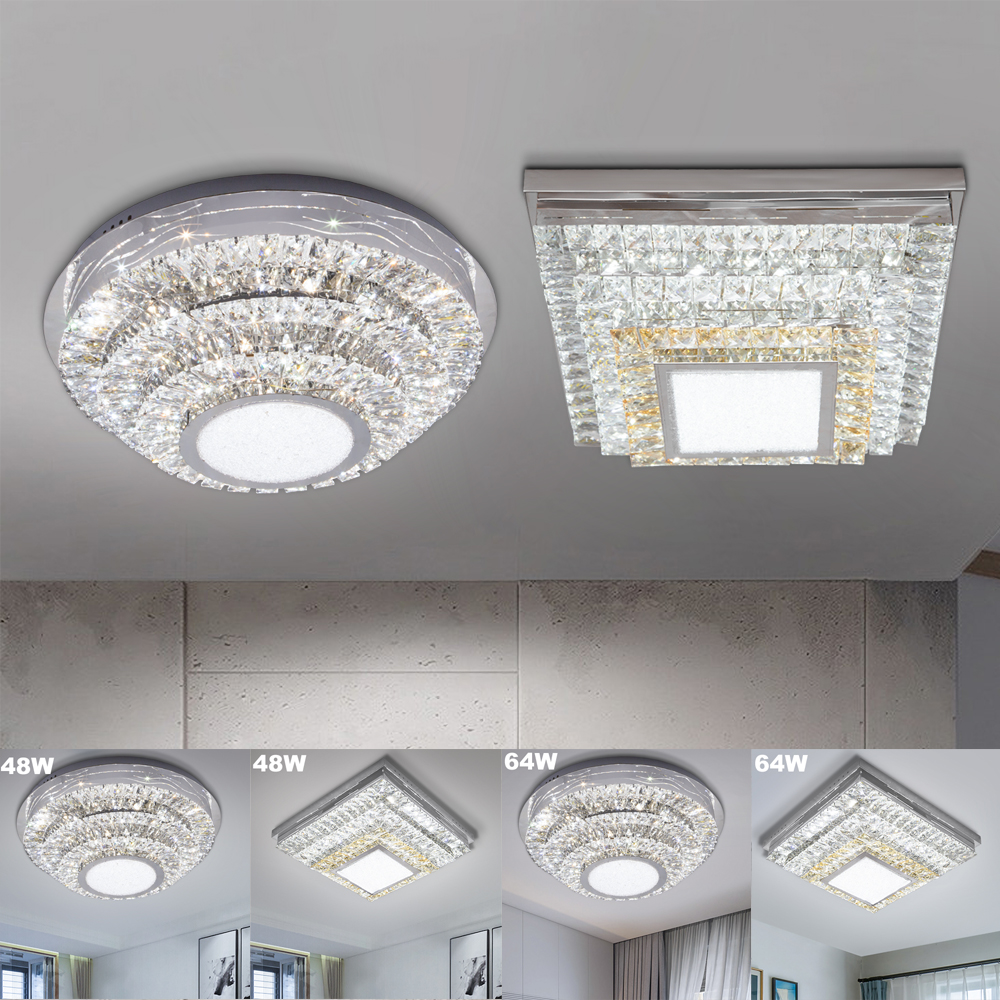 Round Square 48W 64W LED Ceiling Light Modern Crystal LED Ceiling Lamp Dimmable Indoor Lighting Living Room dining room bedroom metal iron art led ceiling panel light dimmable 12w 36w 48w 72w 108w 960 9720lm indoor lamp square for living room bedroom