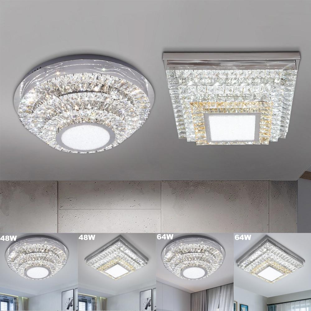 Round Square 48W 64W LED Ceiling Light Modern Crystal LED Ceiling Lamp Dimmable Indoor Lighting Living Room dining room bedroom цены