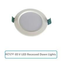 LED โคมดาวน์ไลท์ AC12V 85V รอบโคมไฟเพดาน 5W 9W 12W 15W 18W สีขาวเย็น 6500K หลอดไฟห้องนอนห้องครัวภายใน Spot