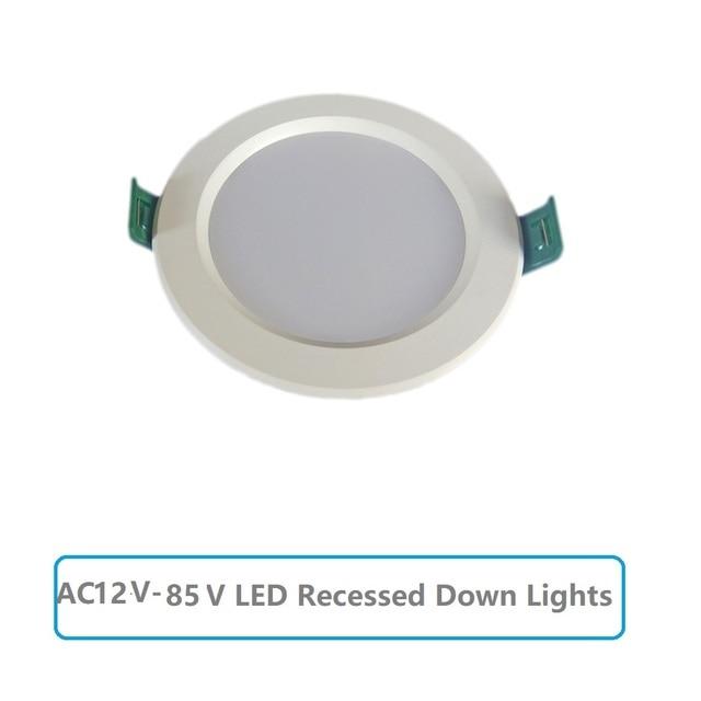 LED downlight AC12V 85V yuvarlak gömme tavan lambaları 5W 9W 12W 15W 18W soğuk beyaz 6500K ampuller yatak odası mutfak iç Spot