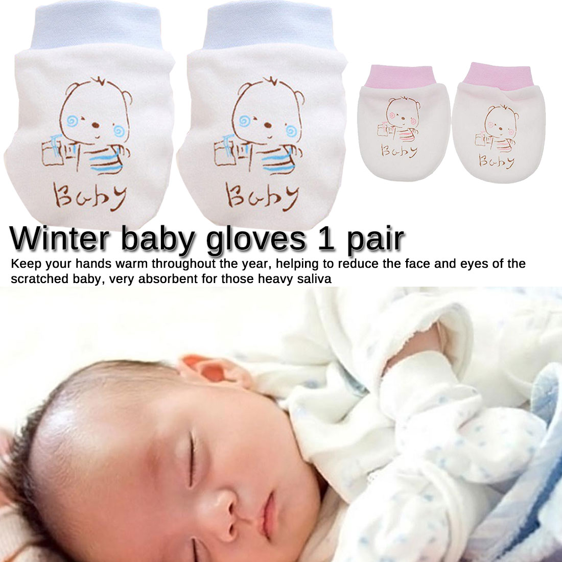 Newborn Cute Warm Baby Gloves Mittens Protection Face Anti Scratching