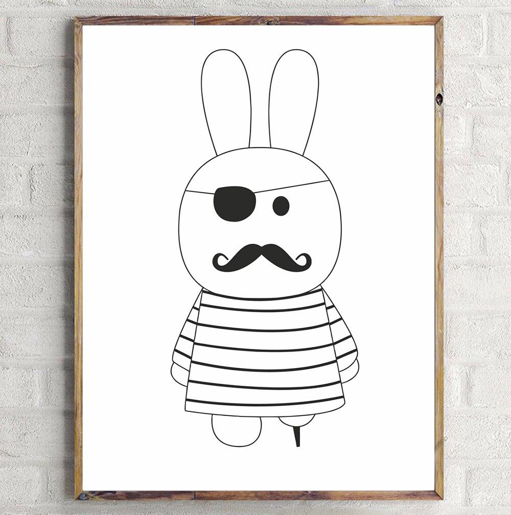 Sevimli cizgi filmi Dovşan Panda Minimalist İncəsənət Kətan - Ev dekoru - Fotoqrafiya 6