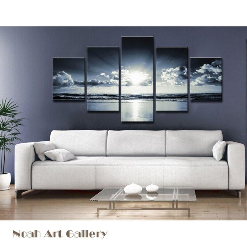 High Definition Sonnenaufgang Seascape Leinwand Wasserdicht Glänzend Leinwand Drucke Wohnkultur Wandkunst Spray Gemälde Leinwand