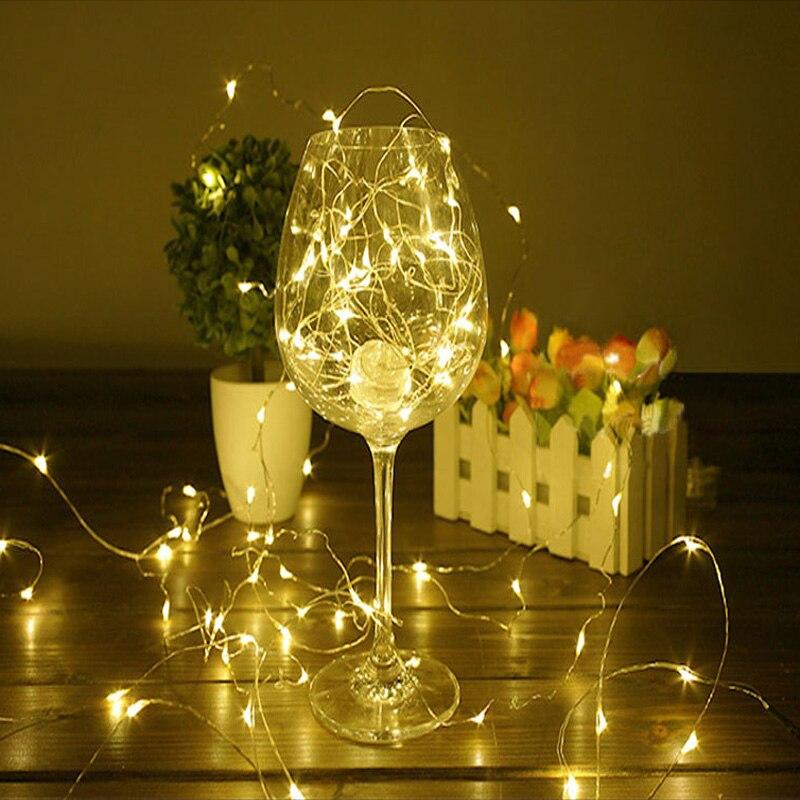 5 м 50 LED CR2032/AA Батарея работает Гирлянды светодиодные огни на Рождество гирлянда партия Свадебные украшения Рождество мигалкой Фея огни
