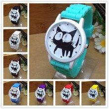 2015 New Famous Brand Geneva Cat Children Cartoon Jelly Quartz Watch Kids Casual Silicone Watches Relogio Clock Wristwatches Hot